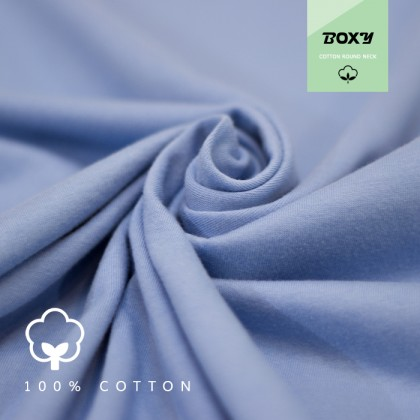 BOXY Premium Cotton Round Neck T-shirt - Sky Blue
