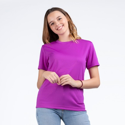 BOXY Microfiber Round Neck Plain T-shirt (Purple)