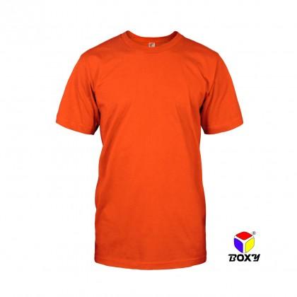 BOXY Microfiber Round Neck Plain T-shirt (Orange)