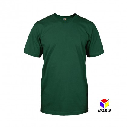 BOXY Microfiber Round Neck Plain T-shirt (Forest Green)