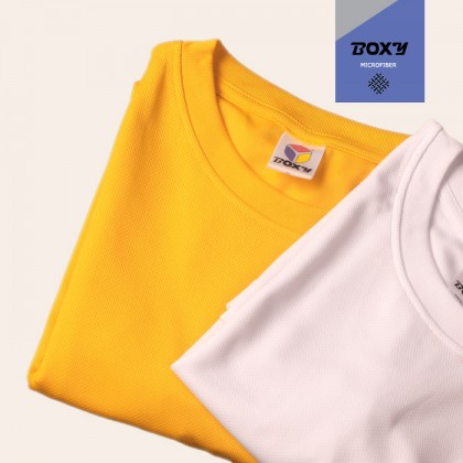 BOXY Microfiber Round Neck Plain T-shirt (Light Grey)