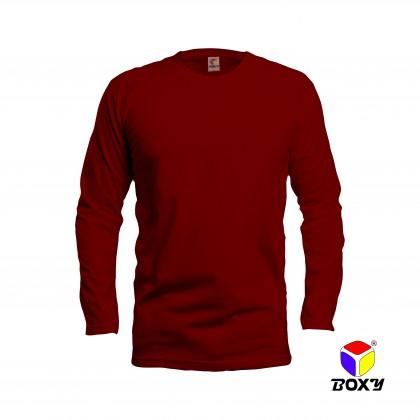 BOXY Microfiber Round Neck Long Sleeves Plain T-shirt  (Maroon)
