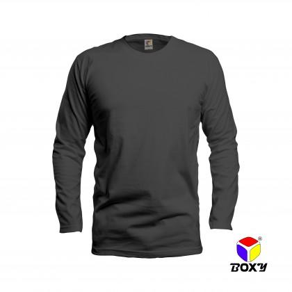 BOXY Microfiber Round Neck Long Sleeves Plain T-shirt  (Grey)