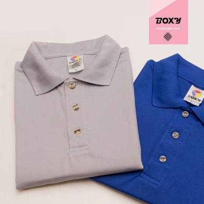 BOXY Microfiber Classic Short Sleeve Polo Shirt (Navy)