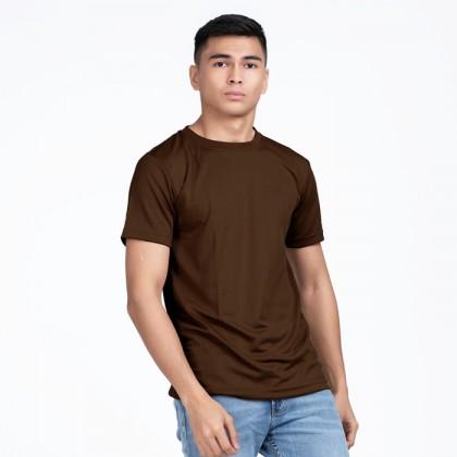 BOXY Microfiber Round Neck Plain T-shirt (Brown)