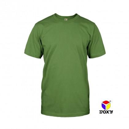 BOXY Microfiber Round Neck Plain T-shirt (Army Green)
