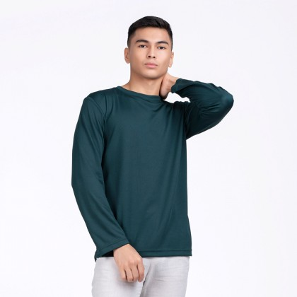 BOXY Microfiber Round Neck Long Sleeves Plain T-shirt  (Forest Green)