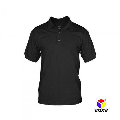 BOXY Cotton Blend Classic Short Sleeve Polo Shirts with Collar (Black)